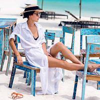 Пляжная рубашка длинная шифон -146-56