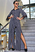 Женский нарядный брючный костюм в полоску, чёрный, молодёжный, элегантный, праздничный, гламурный
