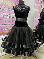 """Платье танцевальное (бейсик) """"Стелла-элит"""",р.134-140(36)(черный), фото 1"""