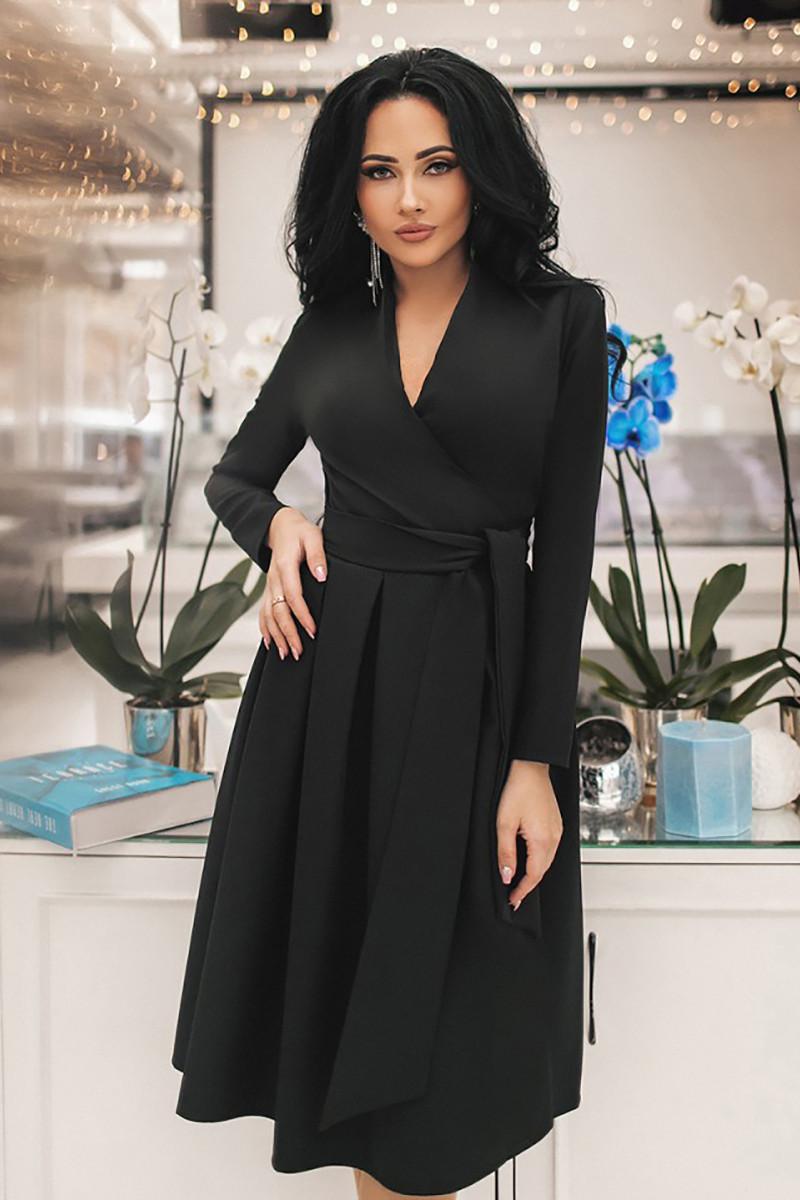 S | Вишукане чорне вечірнє плаття на запах Janise