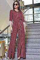 Женский нарядный брючный костюм в полоску, марсала, молодёжный, элегантный, праздничный, гламурный