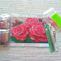 Алмазная вышивка розы 20*30 (16*26) полная выкладка, круглые алмазики