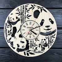 Концептуальные настенные часы из дерева «Милая панда», фото 1