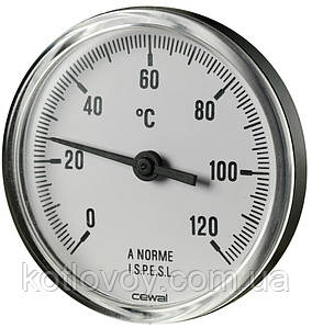 Термометр биметаллический аксиальный Cewal PST 63 P (Ø63 0/120°С L-50 мм)