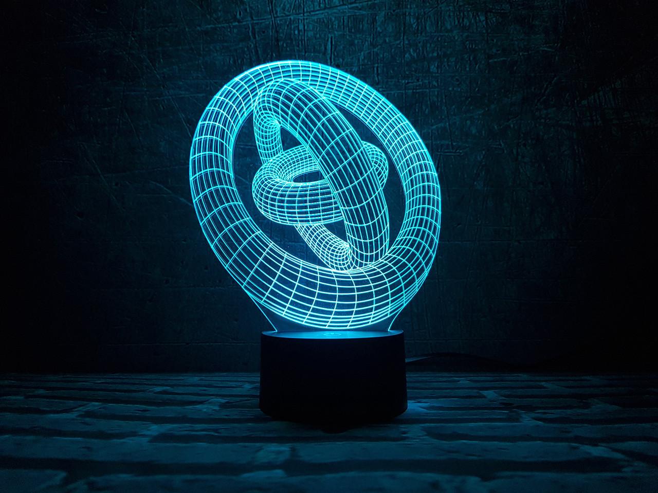 "3d светильник ""Кольца"" 3DTOYSLAMP"