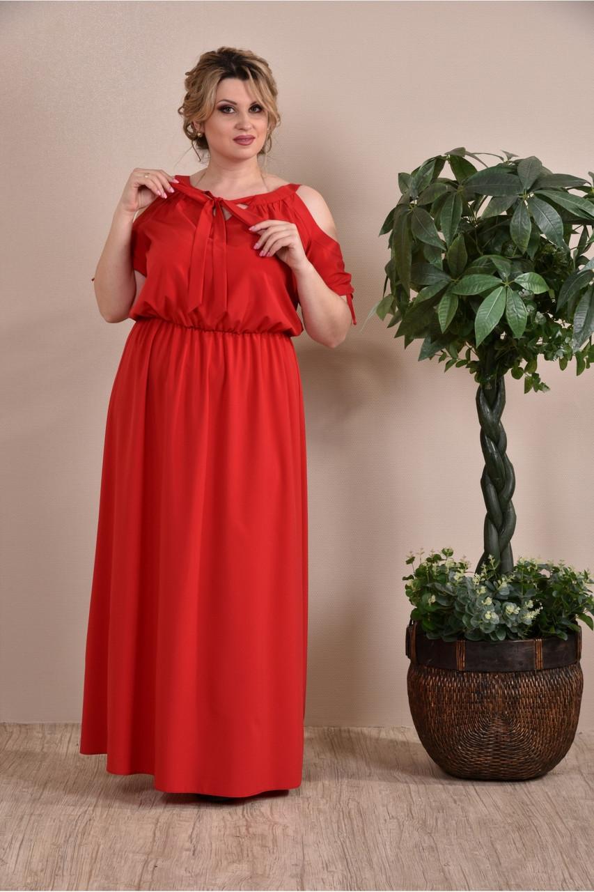 Червоне плаття великий розмір 0259-1