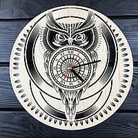 Стильные настенные деревянные часы «Сова», фото 1
