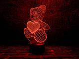 """Ночник — светильник детский """"Мишка с сердцем"""" 3DTOYSLAMP, фото 2"""