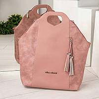 0125efd2c442 Женская сумка необычной формы в темно-пудровом цвете, из искусственной кожи