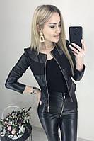 """Женская легкая куртка кожаная """"Nika"""", черный"""