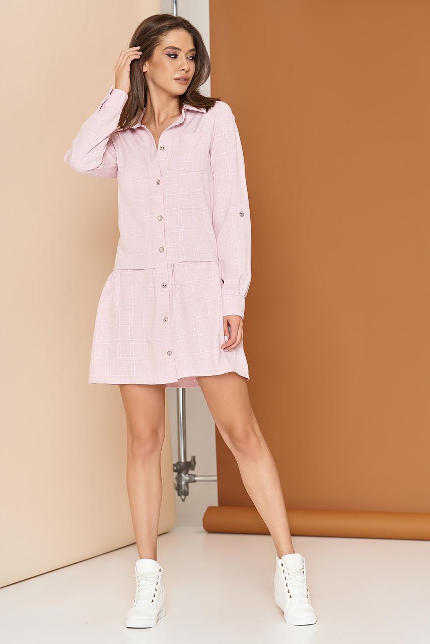 """Женскае льняное платье-рубашка """"L-561"""" с накладным карманом по груди (розовый)"""