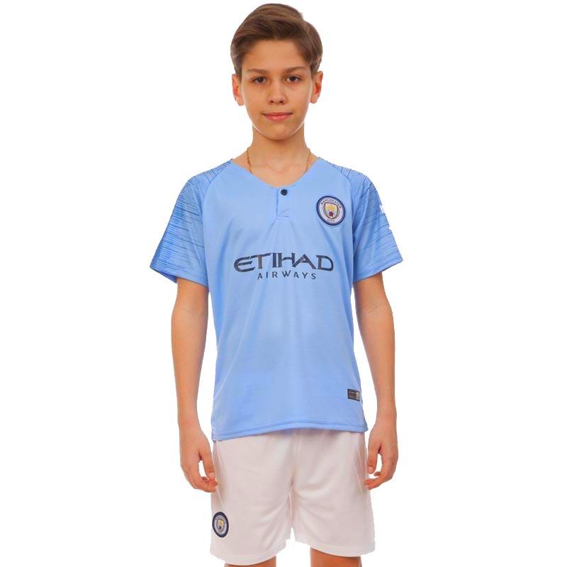 Форма футбольная детская MANCHESTER CITY домашняя 2019 SP-Planeta (р-р 20-28-6-14лет, 110-155см, голубой)Z