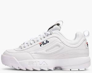 Фила кроссовки кожаные белые синие красные повседневные (реплика) Fila Disruptor Low White