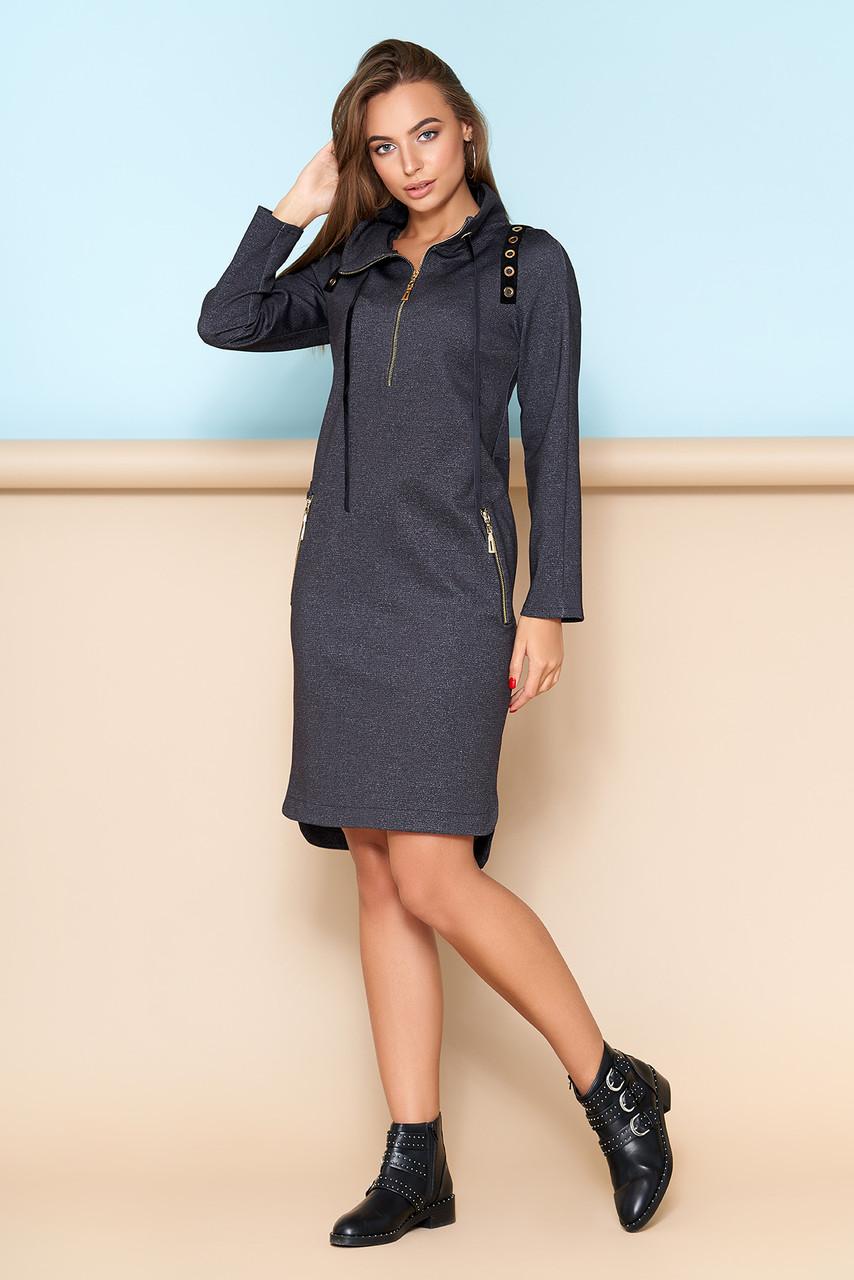 """Теплое трикотажное платье """"A-112"""" в спортивном стиле с капюшоном (черный)"""