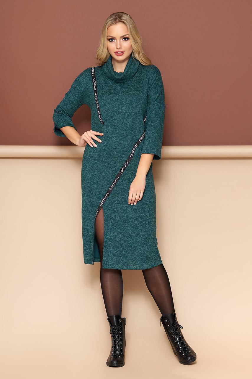"""Платье  """"А-115""""  с воротником-""""хомутом"""" и настрочной декоративной тесьмой (зеленый)"""