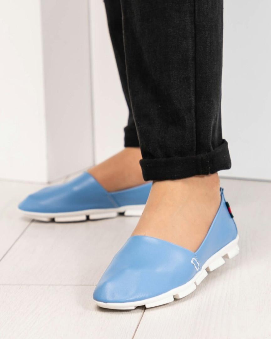 Мокасины женские кожаные голубые