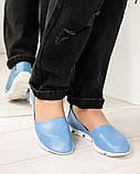 Мокасины женские кожаные голубые, фото 2