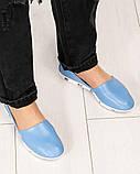 Мокасины женские кожаные голубые, фото 3