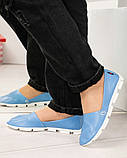 Мокасины женские кожаные голубые, фото 4