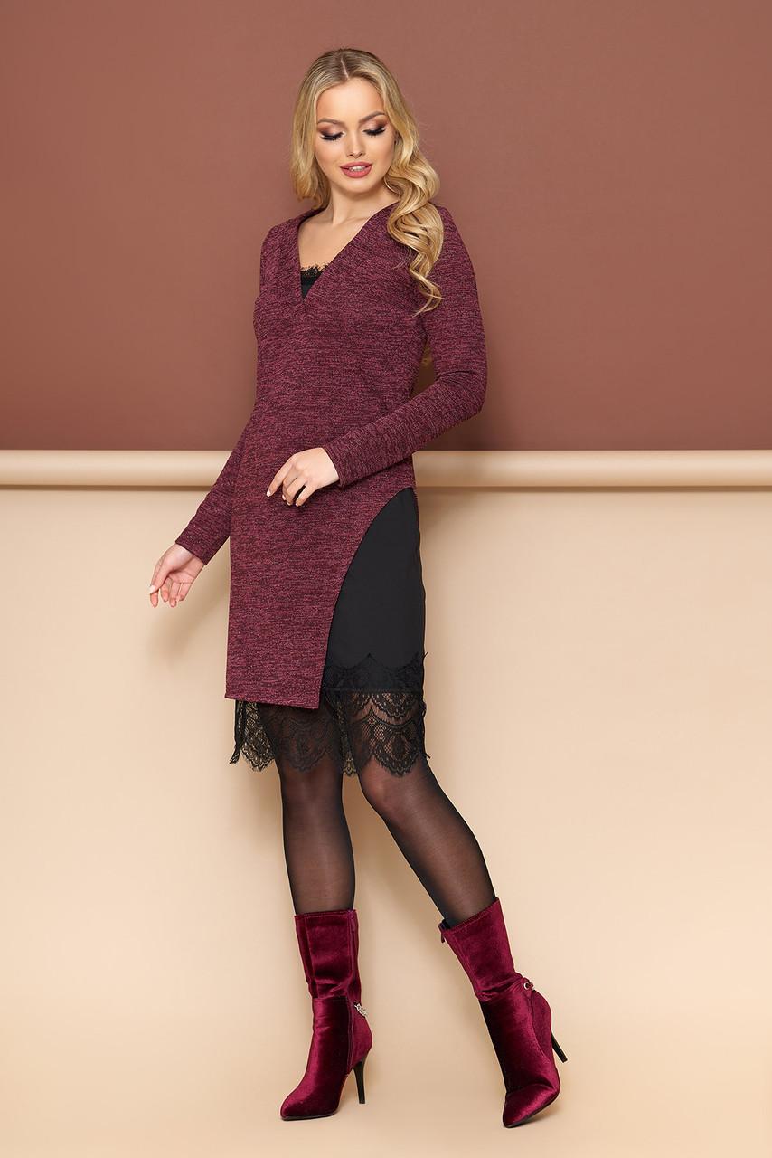 """Женское платье двойка """"Сиэтл"""" в бельевом стиле(бордовый)"""