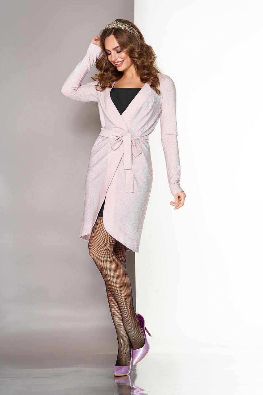 """Платье двойка """"Ирэн"""" (платье-комбинация + платье-халат) выполнено в бельевом стиле (персик)"""
