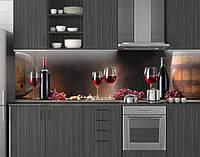 Пластиковый кухонный фартук ПВХ Рубиновое вино, стеновые панели пластик скинали фотопечать, коричневый