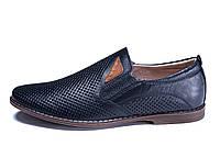 Мужские кожаные летние туфли,перфорация, KungFu blue