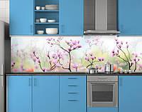Пластиковый кухонный фартук ПВХ Мелкие розовые цветы, стеновые панели пластик скинали фотопечать, зеленый, фото 1
