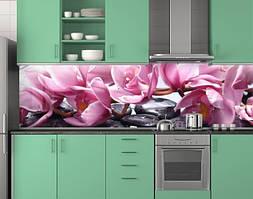 Пластиковый кухонный фартук ПВХ Пышные орхидеи, стеновые панели пластик скинали фотопечать, Цветы, розовый