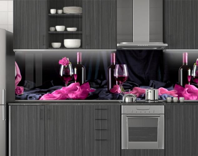 Пластиковый кухонный фартук ПВХ Вино и розовый шелк, стеновые панели пластик скинали фотопечать, черный, 620*2050 мм