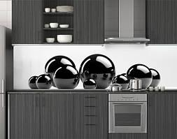Пластиковый кухонный фартук ПВХ Черные глянцевые шары, Пленка для кухонного фартука с фотопечатью скинал белый