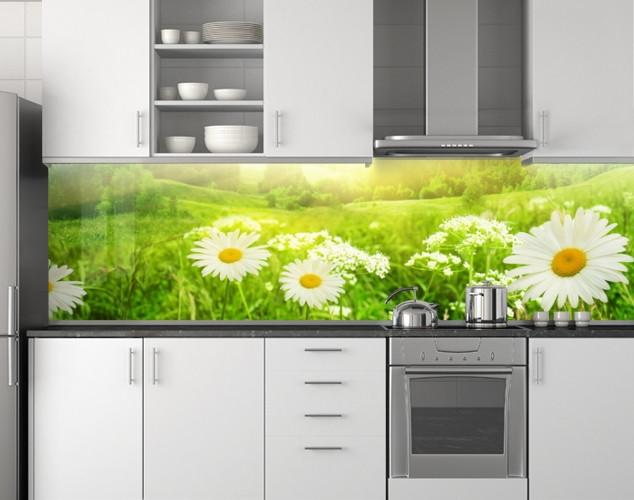Пластиковый кухонный фартук ПВХ Поле ромашек 03, стеновые панели пластик скинали фотопечать, Цветы, зеленый, 620*2050 мм