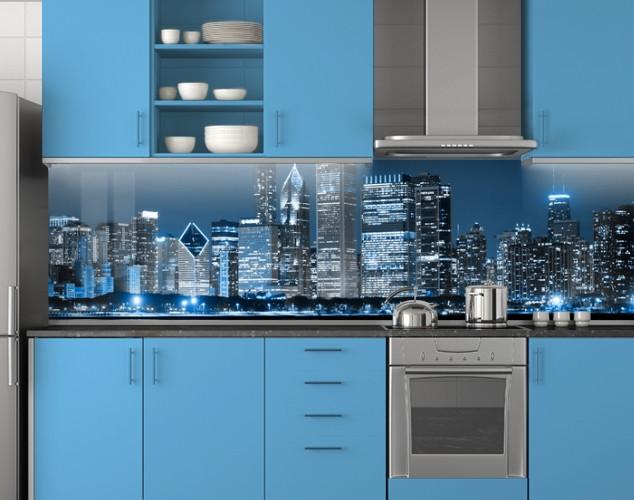 Пластиковый кухонный фартук ПВХ Голубые огни города, Стеновая панель для кухни с фотопечатью, скинали, голубой