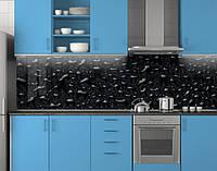 Пластиковый кухонный фартук ПВХ Черная роса, стеновые панели пластик скинали фотопечать, Текстуры, черный, фото 1