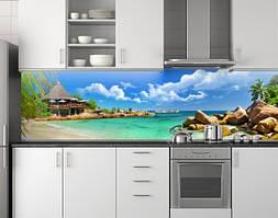 Пластиковый кухонный фартук ПВХ Бирюзовая вода и пальмы, Мальдивы, Стеновая панель для кухни, Море, голубой