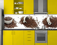 Пластиковый кухонный фартук ПВХ Кофейные чашки зерно кофе, стеновая панель для кухни, белый