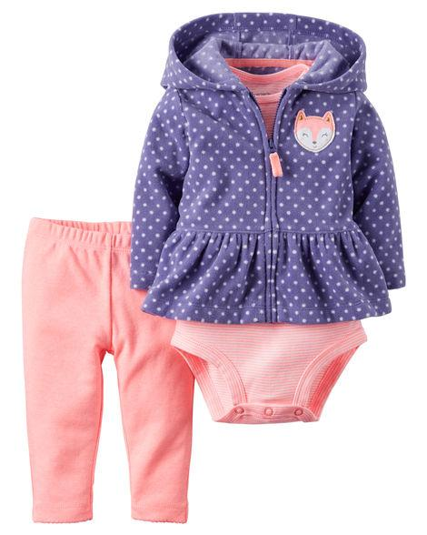 Carters Набор тройка для девочки: кофта, штаны и бодик на 2 года