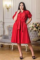 Одёжная ткань красный коттон однотонный