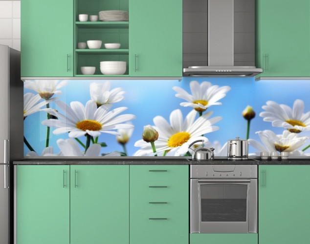 Пластиковый кухонный фартук ПВХ Ромашки и небо, стеновые панели пластик скинали фотопечать, Цветы, голубой