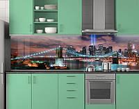 Пластиковый кухонный фартук ПВХ Бирюзовые огни моста и прожектор, стеновые панели пластик скинали, Мосты, 620*2050 мм, фото 1