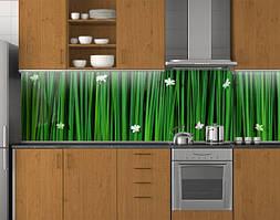 Пластиковый кухонный фартук ПВХ Зеленая трава и цветы, стеновые панели пластик скинали фотопечать, Текстуры