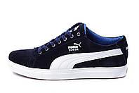 Мужские Кожаные Кеды Puma SUEDE Blue (реплика), фото 1