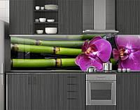 Пластиковый кухонный фартук ПВХ Бамбук и розовые орхидеи, стеновые панели пластик скинали, цветы, зеленый, фото 1