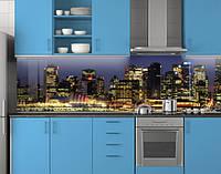 Пластиковый кухонный фартук ПВХ Золото ночного города, Самоклеящаяся стеновая панель для кухни, Город, синий