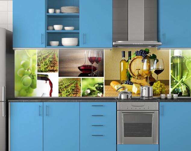 Пластиковый кухонный фартук ПВХ Вино и виноград, Кухонный фартук с фотопечатью, зеленый