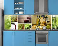 Пластиковый кухонный фартук ПВХ Вино и виноград, Кухонный фартук с фотопечатью, зеленый, фото 1
