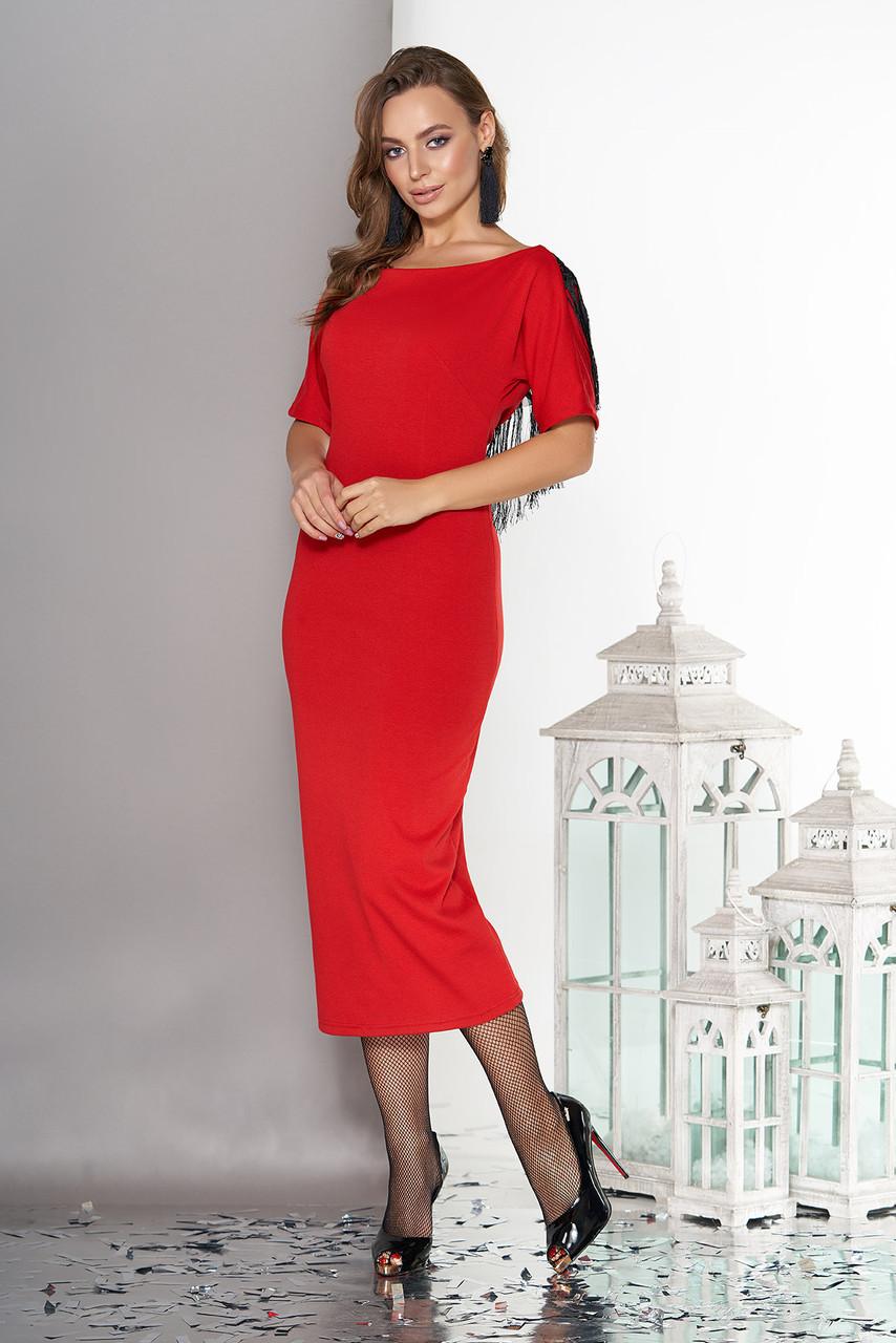"""Вечернее платье """"L-154"""" с ложным запахом по спинке, образовывающим глубокий V-образный вырез  (красный)"""