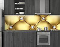 Пластиковый кухонный фартук ПВХ Кожа и свет, Фотопечать кухонного фартука на самоклейке, Текстуры, золото, фото 1