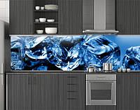 Пластиковый кухонный фартук ПВХ Кубики льда, Самоклеящаяся стеновая панель для кухни, Абстракция скинали синий