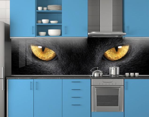 Пластиковый кухонный фартук ПВХ Кошачьи глаза, стеновые панели пластик скинали фотопечать животные коты черный, 620*2050 мм